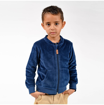 Jamone - Blå jacka i velour till barn