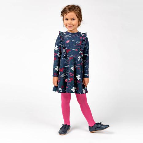 Sadie - Blommönstrad trikåklänning till barn