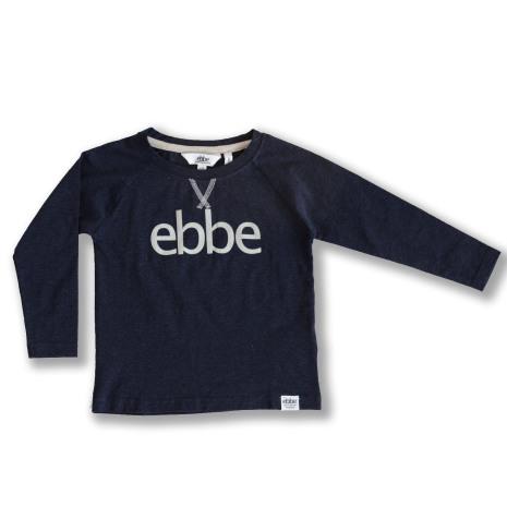 Ivo - Marinblå långärmad tröja med ebbes logga till barn