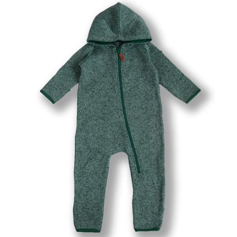 Dandy - Grönmelerad fleeceoverall till baby