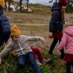 Dash - Beigemelerad fleecejacka till barn