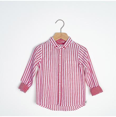 Ramon - Rödrandig bomullskjorta till barn
