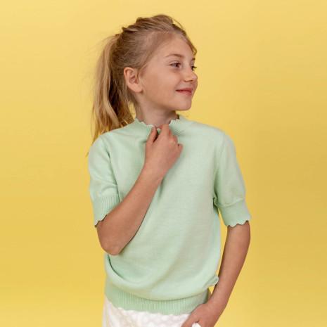 Natalia - Kortärmad stickad top till barn