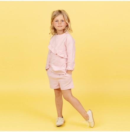 Heidi - Rosa sweatshirttröja med volang till barn
